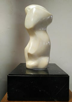 Bold White Marble Sculpture by Istvan Toth