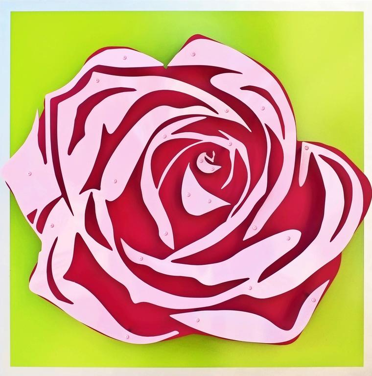 Kalish Editions Rose Pink On Green Sculpture For Sale