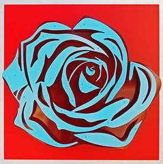 Rose - Blue on Red