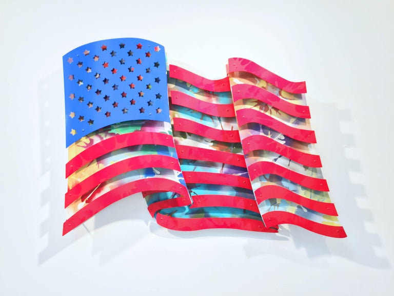 Michael Kalish Abstract Sculpture - American Flag - Multi Color