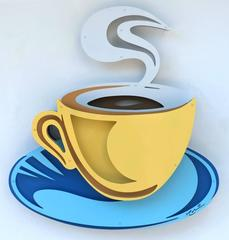 Coffee Cup - Yellow on Blue