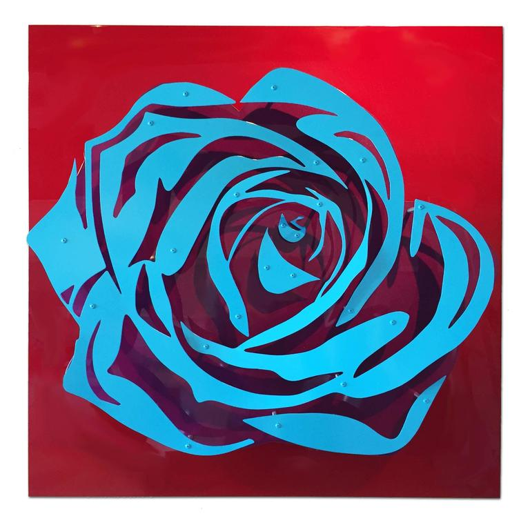 Michael Kalish Abstract Sculpture - Candy Rose - Blue on Red