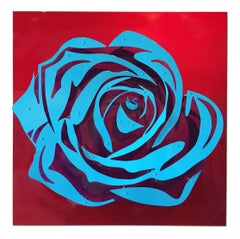 Candy Rose - Blue on Red