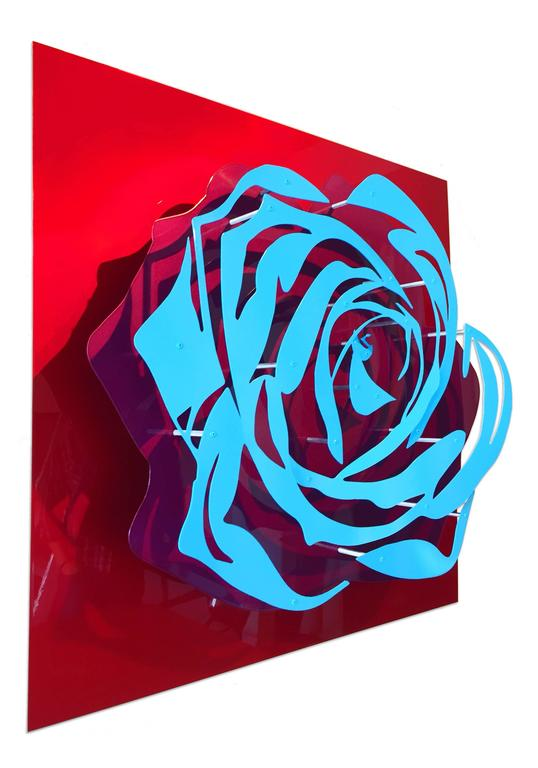 Candy Rose - Blue on Red - Sculpture by Michael Kalish