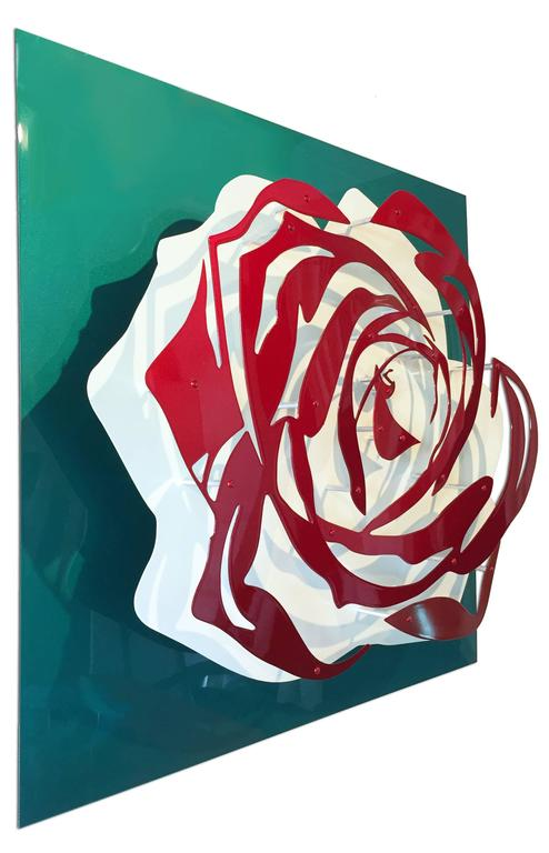 Candy Rose - Red on Teal - Sculpture by Michael Kalish