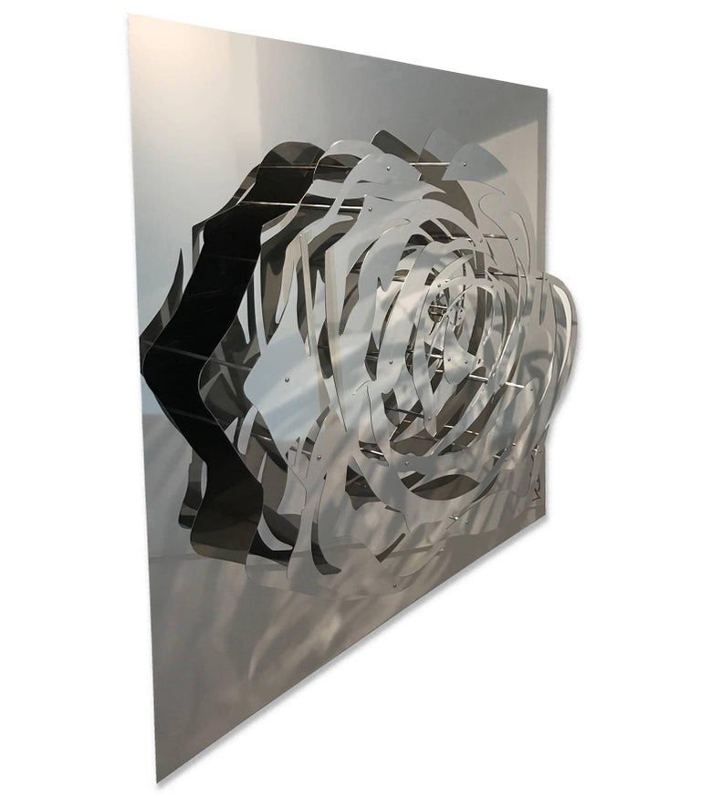 Michael Kalish Figurative Sculpture - Large Rose - Mirrored Stainless