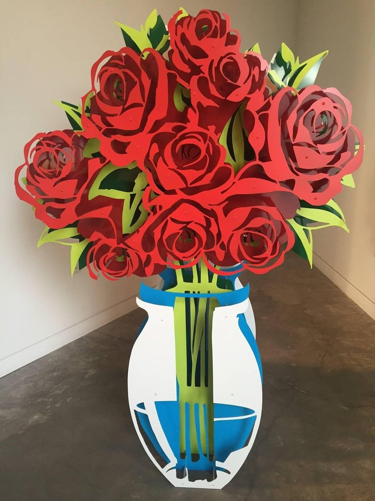 Michael Kalish Abstract Sculpture - Vase of Roses - Large Painted