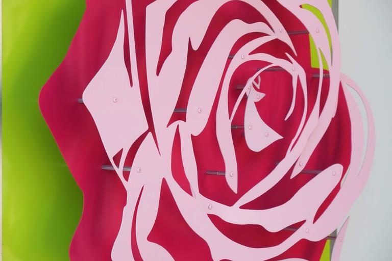 Rose - Pink on Green - Painting by Michael Kalish