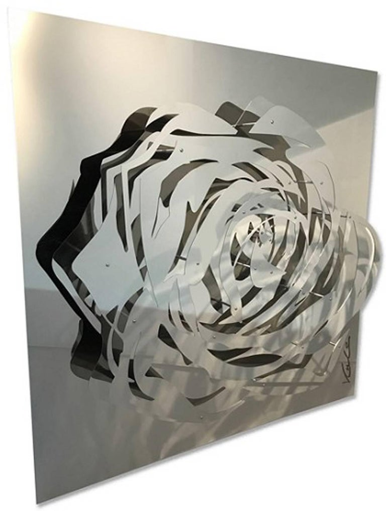 Large Rose - Mirrored Stainless - Sculpture by Michael Kalish
