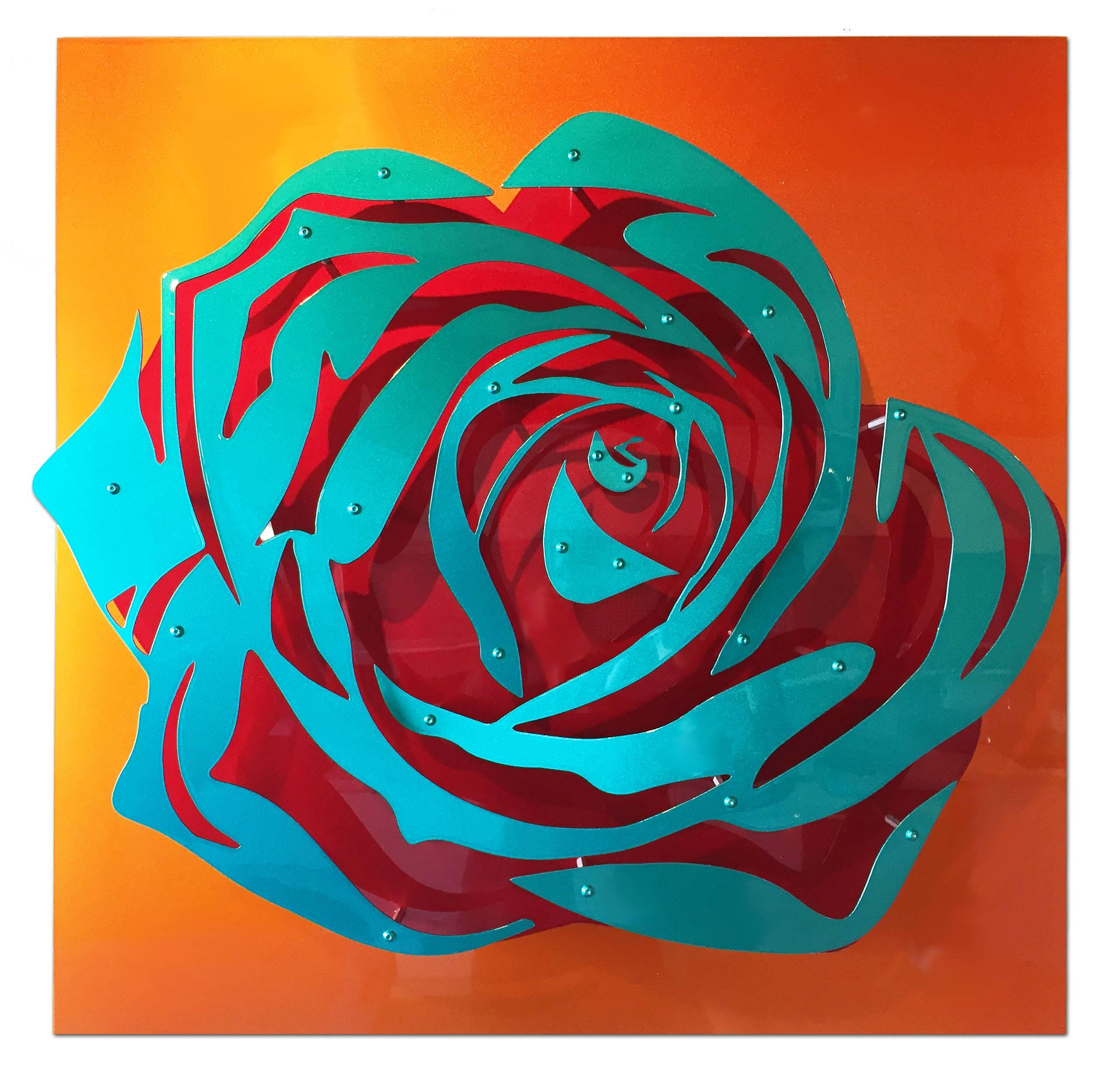 Candy Rose - Blue on Orange - COMMISSION ONLY