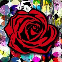 Red Rose on Circle Graffiti