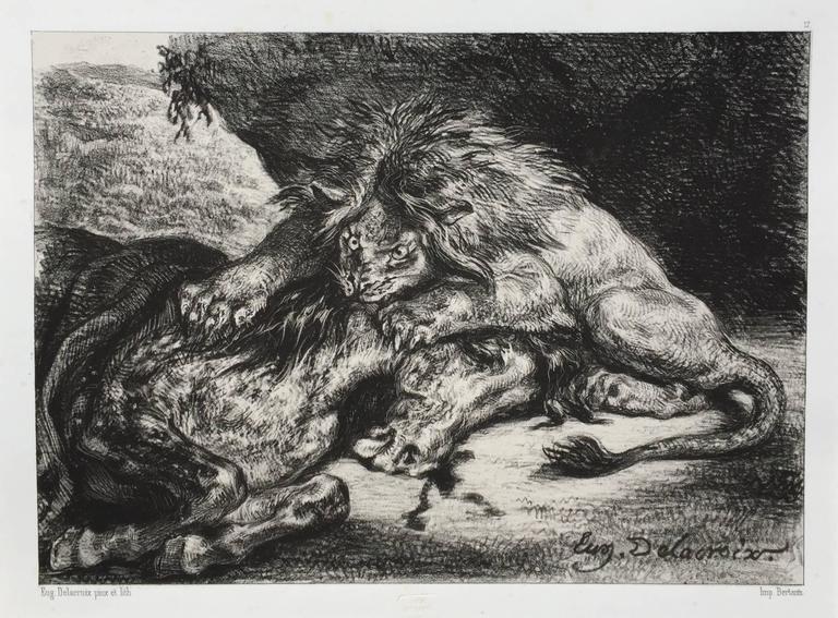 Eugene Delacroix Print - LION DEVORANT UN CHEVAL  - Lion Devouring a Horse