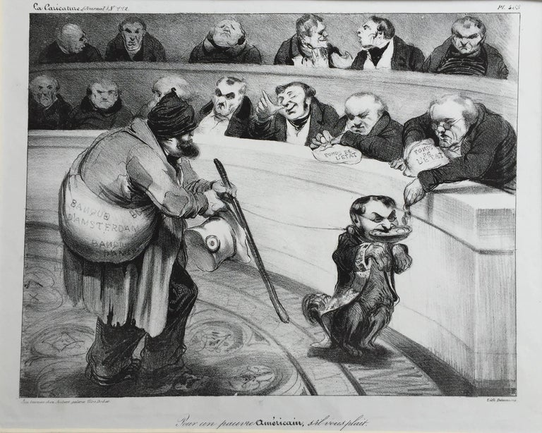 Honoré Daumier Figurative Print - FOR A POOR AMERICAN, PLEASE
