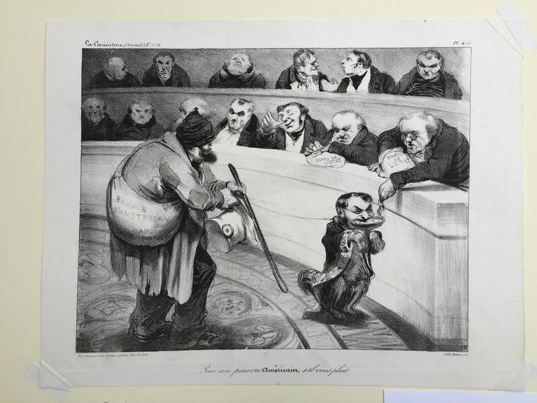 FOR A POOR AMERICAN, PLEASE - Barbizon School Print by Honoré Daumier
