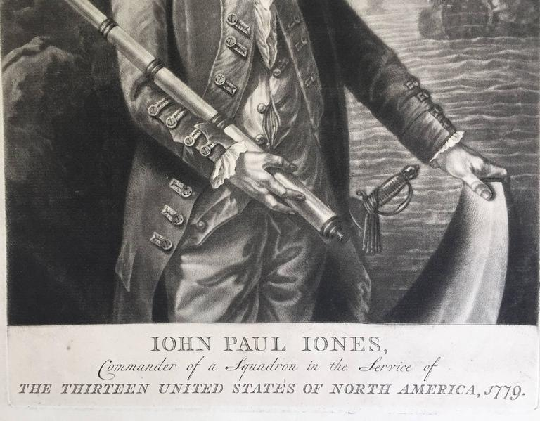 John Paul Jones Commander of a Squadron  -  13 Colonies United States...  - Gray Print by Unknown