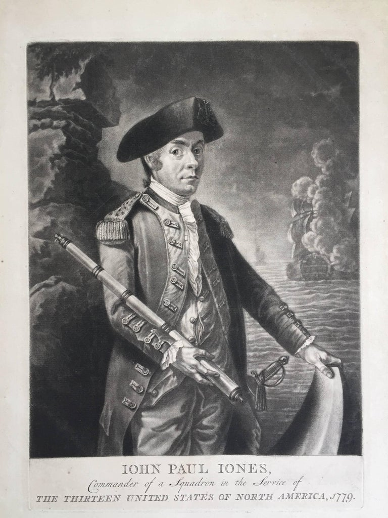 Unknown Print - John Paul Jones Commander of a Squadron  -  13 Colonies United States...