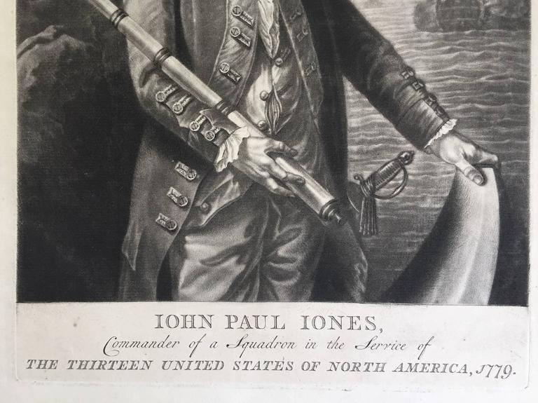 "AMERICAN REVOLUTION  -  (Attributed to Richard Brookshaw)   JOHN PAUL JONES Commander of a Squadron in the Service of THE THIRTEEN UNITED STATES OF NORTH AMERICA, 1779  (Creswell LC132:  Chaloner Smith, Page 1735, no 97) Mezzotint, plate 14 x 10"","