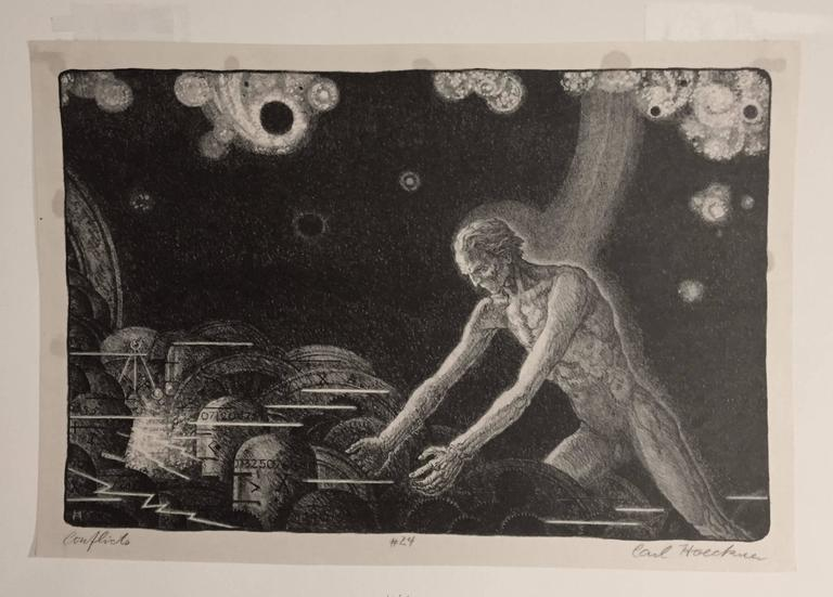 """CARL HOECKNER (1883 – 1972)            CONFLICTS 1930           Lithograph, edition unknown but small. This impression is no 24.            10 ½"""" x 15 ¾"""".  Some remnants of glue stains just outside image. Very             Strong Modernist labor"""