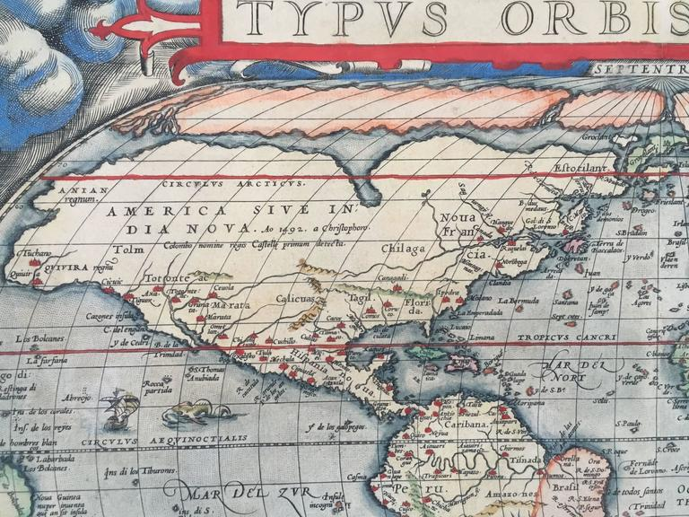 ABRAHAM ORTELIUS  (1527 – 1598)            TYPUS ORBIS TERRARUM 1570-5  (Shirley 122: Van Den Beck 1.2)           First plate of 3 as published in 1575 - showing repairs to the cracked plate            at the lower left and alterations to the