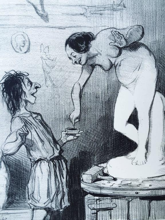 PYGMALIAN - Gray Figurative Print by Honoré Daumier
