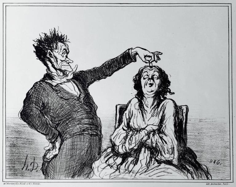 Honoré Daumier Figurative Print - A DIAMOND HYPNOTIST  -  Le Diamant Magnetiseur