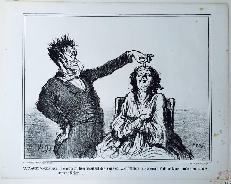A DIAMOND HYPNOTIST  -  Le Diamant Magnetiseur - Barbizon School Print by Honoré Daumier