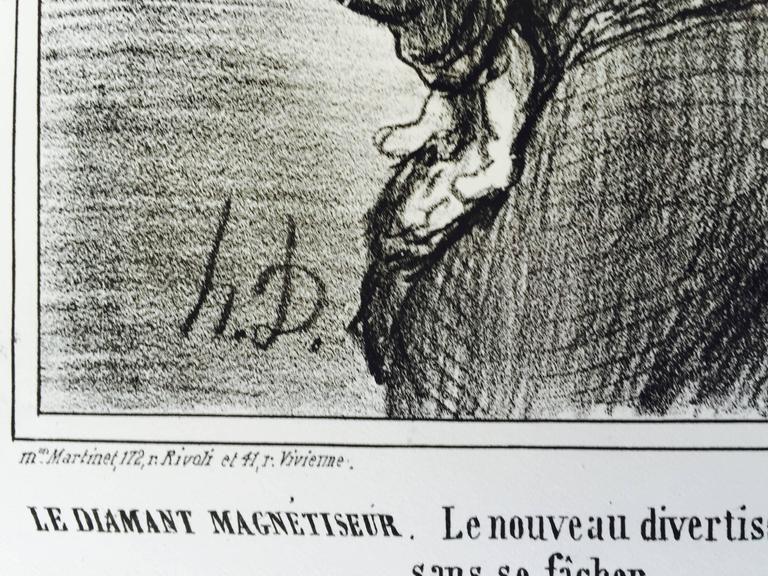 A DIAMOND HYPNOTIST  -  Le Diamant Magnetiseur - Gray Figurative Print by Honoré Daumier