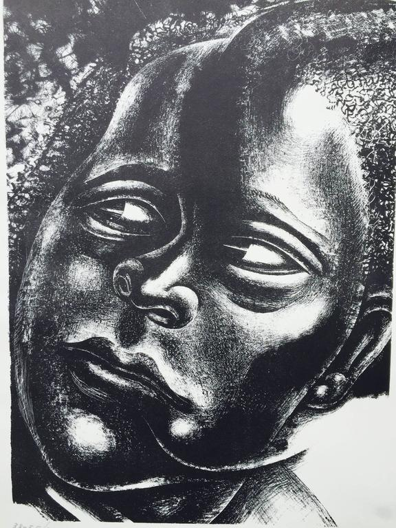 """DAVID ALFARO SIQUEIROS (1896 – 1974)            DAMA NEGRA 1937-1945 (Williams 8)           Transfer lithograph, signed and no. 38-EE/50 and dated 1945. 13 5/8 x 19            3/16"""". Very large full margins,, sheet 29 x 21 ½"""".  Stamped lower sheet"""