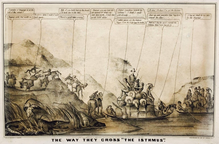 Currier & Ives Print - Rare Gold Rush Caricature - Crossing Panama to California