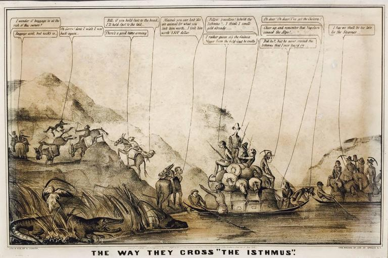 Rare Gold Rush Caricature - Crossing Panama to California  - Print by Currier & Ives