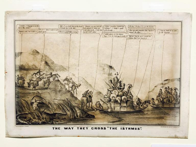 Rare Gold Rush Caricature - Crossing Panama to California  - Folk Art Print by Currier & Ives