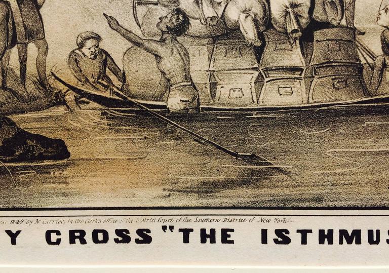 Rare Gold Rush Caricature - Crossing Panama to California  For Sale 1