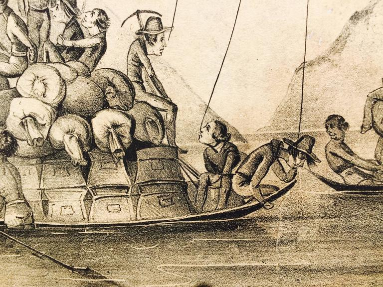 Rare Gold Rush Caricature - Crossing Panama to California  For Sale 3