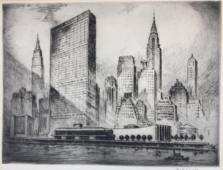 Nat Lowell Landscape Print - UNITED NATIONS BUILDING, NEW YORK