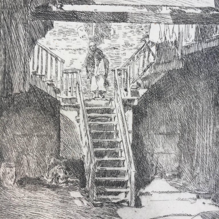 """CHILDE HASSAM (1859 – 1935)            OLD CHINATOWN - SAN FRANCISCO 1904 (Cortissoz 95 i/iii?)           Etching, 5 ¼ """" x 5"""". Signed and dated in the plate and with his cypher in            pencil. An early state before additional work as in the"""