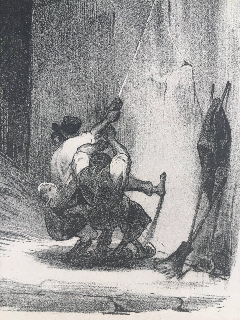 AH! HIS! - (Heave Ho) - Barbizon School Print by Honoré Daumier