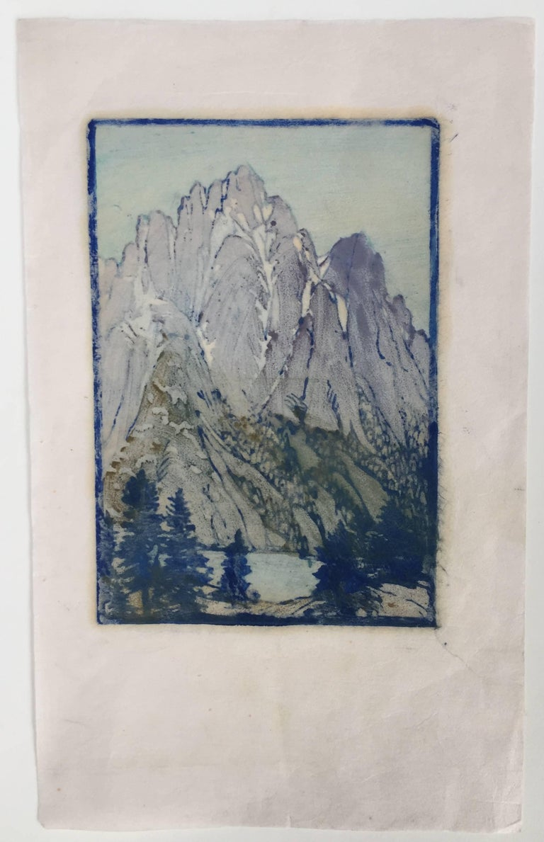 LONELY SIERRA - Gray Landscape Print by Frances H. Gearhart