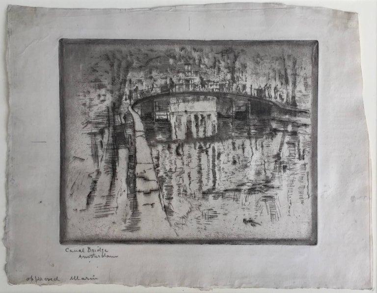 CANAL BRIDGE AMSTERDAM - Print by John Marin