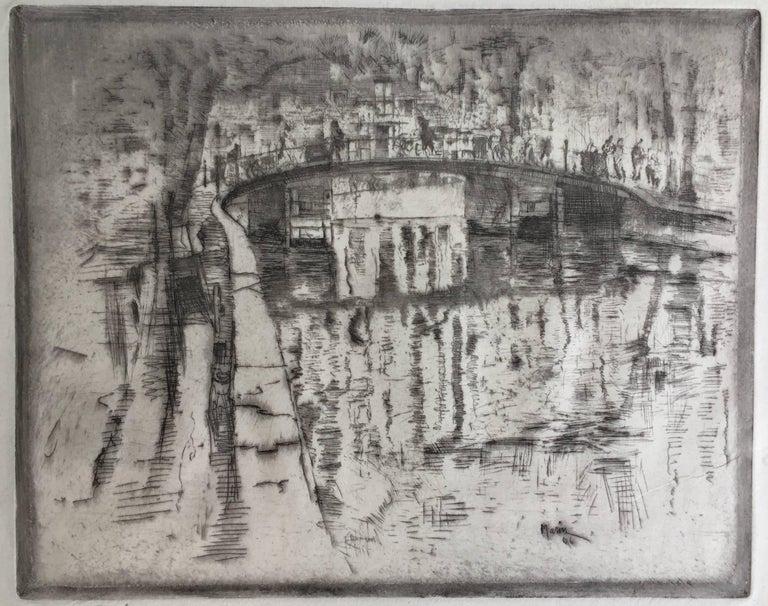 John Marin Landscape Print - CANAL BRIDGE AMSTERDAM
