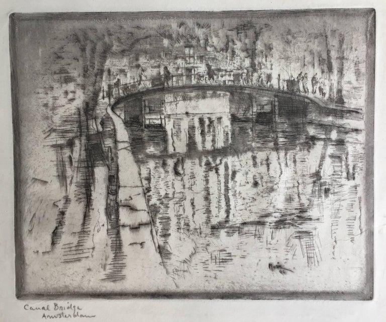 CANAL BRIDGE AMSTERDAM - American Impressionist Print by John Marin