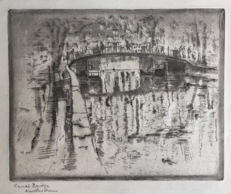 CANAL BRIDGE AMSTERDAM - Gray Landscape Print by John Marin