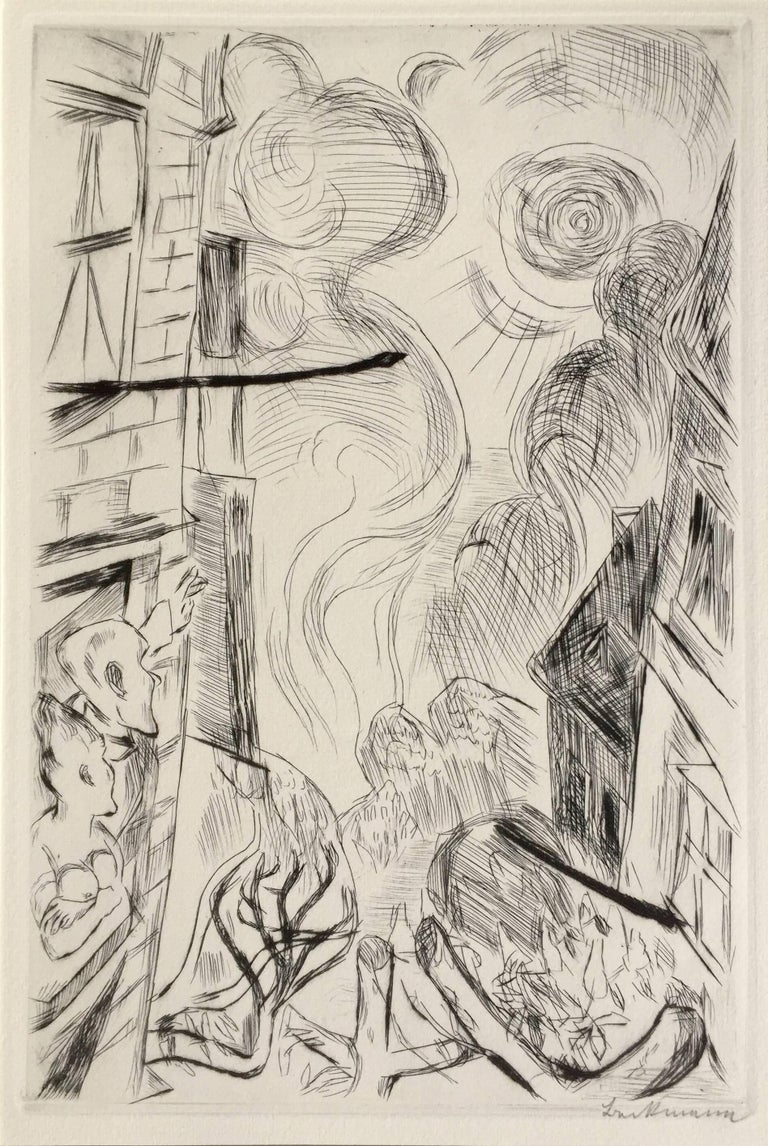 """MAX BECKMANN (1884 - 1950)            FRUHLING (Spring) 1918 (H.133 IIb?: G 104)           Etching and drypoint, edition 60 on laid paper + 40 on japan. Signed in            pencil. Plate 13 from Gesichter (Faces). 11 5/8 x 7 ¾"""".  Full margin in"""