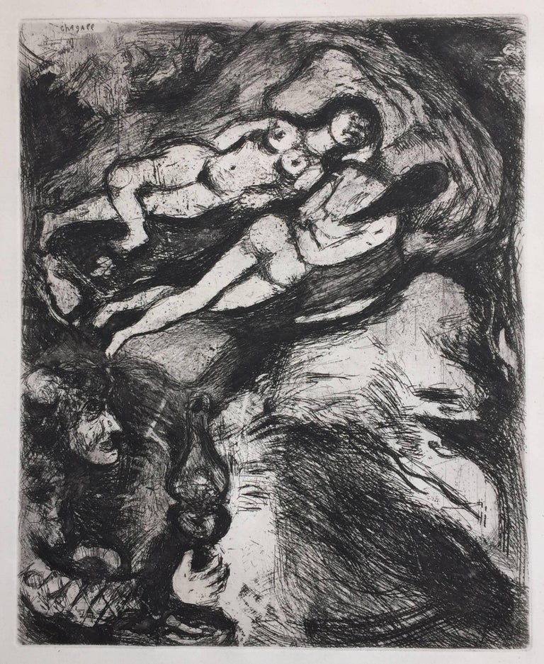 """MARC CHAGALL (Russian/French (1887 – 1965)            LE VIELLE ET LES DEUX SERVANT  1952 (Cramer 22, V.150))           (Old Lady and the Two Servants) Etching and aquatint, plate 56 from            """"Fables de la Fontaine"""" 1952 from the"""