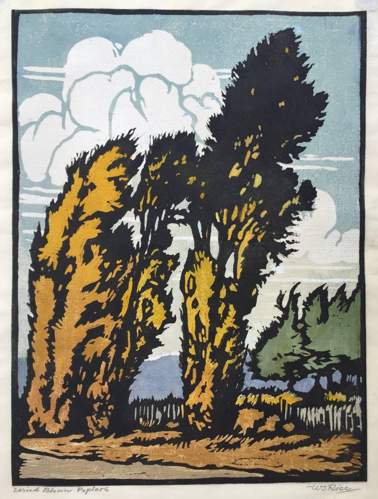 "WILLIAM SELTZER RICE  (1873 – 1963)            WIND BLOWN POPLARS c. 1915-20           Color woodcut, Signed and titled in pencil. 9 x 12"".  On thin paper.            Remnants of  original hinges in upper corners verso showing to recto."