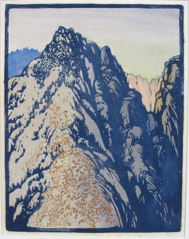 """FRANCES H. GEARHART (1869-1958)            DESERT BARRIER  c. 1933           Color block print, unsigned  12 x 9 ¼"""". Typical original margins on good            fibrous japan paper. Many very good impressions by Gearhart are            unsigned. The"""