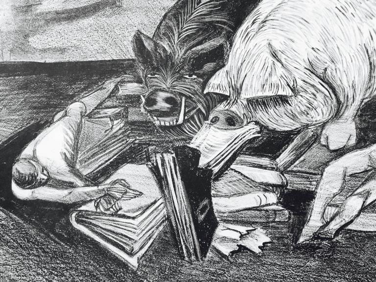 Ruth Leaf Figurative Print - FASCISM and CULTURE