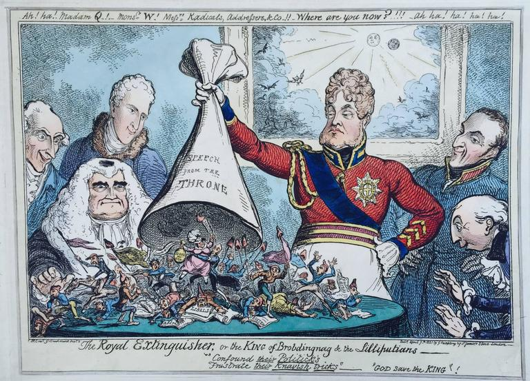 George Cruikshank - The Royal Extinguisher or The King of Brobdingnag and  the Lilliputians at 1stDibs