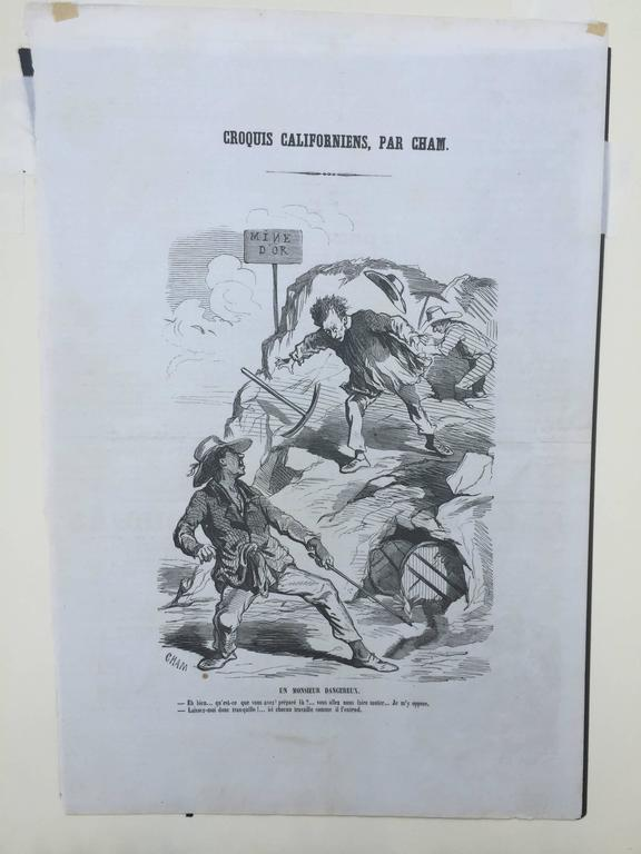 CALIFORNIA 1850 GOLD RUSH CARICATURE - Gray Figurative Print by Charles Amedee de Noe (CHAM)