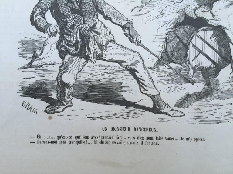 CALIFORNIA 1850 GOLD RUSH CARICATURE - Barbizon School Print by Charles Amedee de Noe (CHAM)