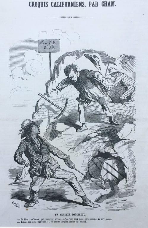 Charles Amedee de Noe (CHAM) Figurative Print - CALIFORNIA 1850 GOLD RUSH CARICATURE